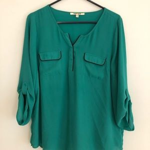 Turquoise Green and Navy Blouse